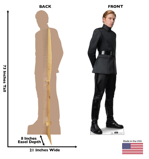 Life-size cardboard standee of General Hux™ (Star Wars IX) with back and front dimensions.