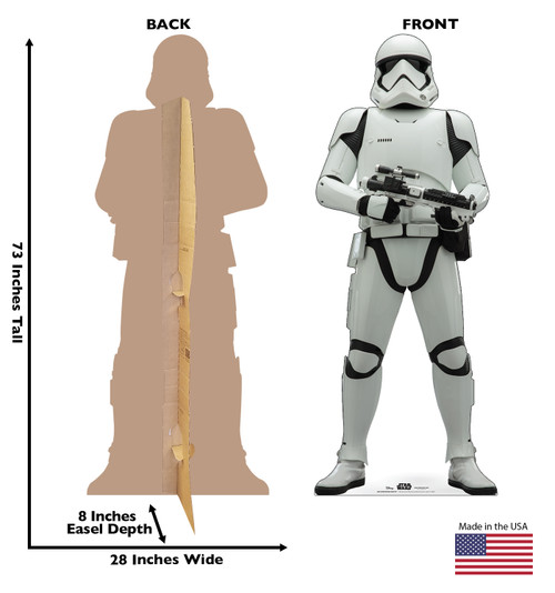 Life-size cardboard standee of Stormtrooper Infantry™ (Star Wars IX) with back and front dimensions.