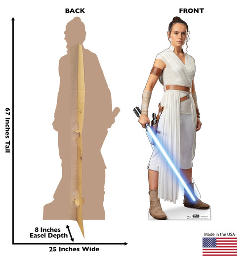 Life-size cardboard standee of Rey™ (Star Wars IX) with back and front dimensions.