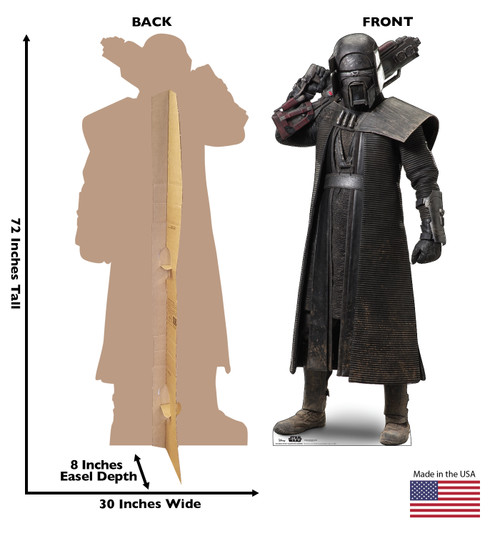 Life-size cardboard standee of Knight of Ren Blaster Rifle Warrior™ (Star Wars IX) with back and front dimensions.