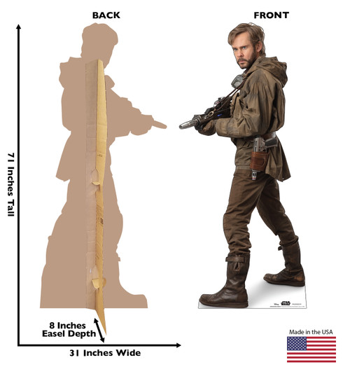 Life-size cardboard standee of Resistance Trooper™ (Star Wars IX) with back and front dimensions.