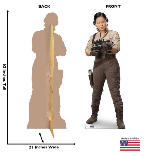 Life-size cardboard standee of Rose™ (Star Wars IX) with back and front dimensions.