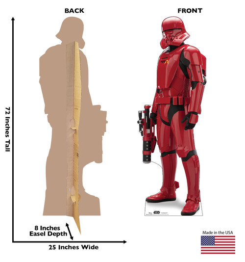 Life-size cardboard standee of Sith Jet Trooper™ (Star Wars IX) with back and front dimensions.