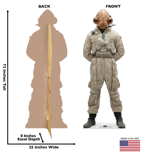 Life-size cardboard standee of Mon Cal General™ (Star Wars IX) with back and front dimensions.