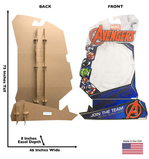 Cardboard stand-in...Marvel, Be the Hero with front and back dimensions.