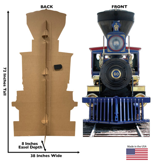 Life-size cardboard standee of CP60 Jupiter Train with sound and back and front dimensions.