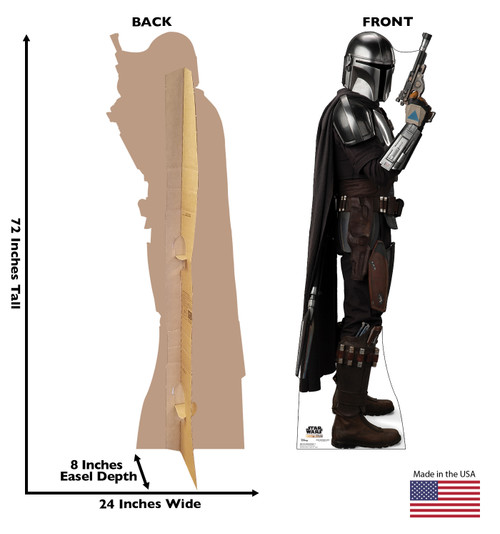 Life-size cardboard standee of The Mandalorian fromThe Mandalorian with back and front dimensions.
