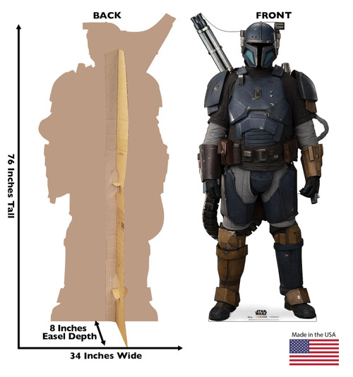 Life-size cardboard standee of Paz Vizsla from The Mandalorian with back and front dimensions.