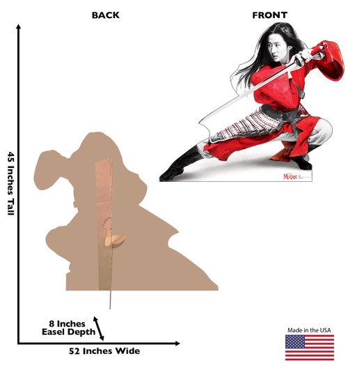 Life-size cardboard standee of Mulan from Disney's live action movie with front and back view and dimensions.