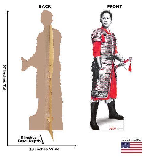 Life-size cardboard standee of Mulan as a Soldier from Disney's live action movie with front and back view and dimensions.