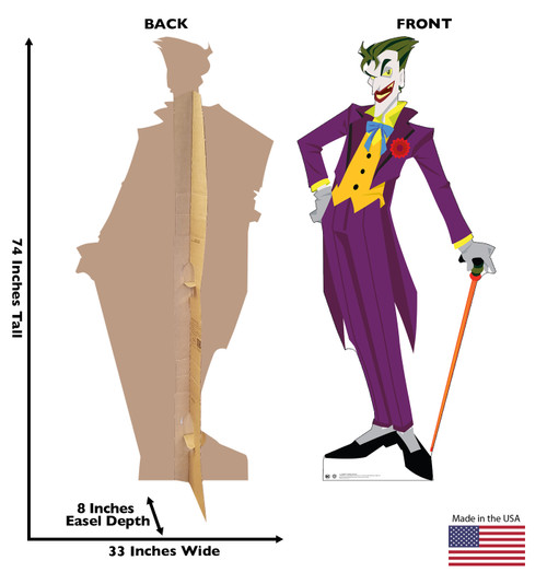 Life-size cardboard standee of The Joker in a purple suit with front and back dimensions.