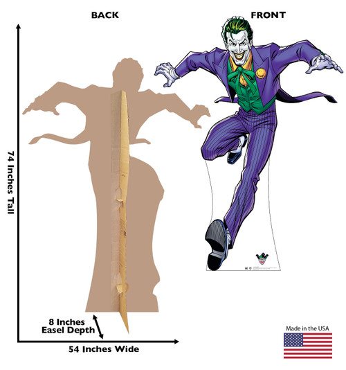 Life-size cardboard standee of The Joker with front and back dimensions.