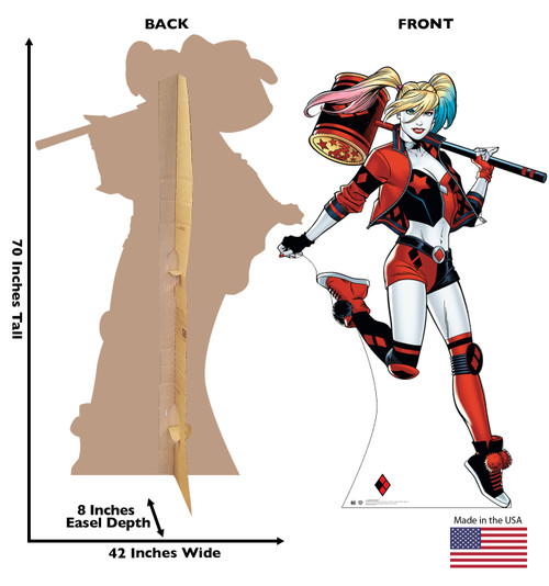 Life-size cardboard standee of Harley Quinn with front and back dimensions.