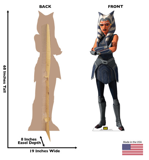 Life-size cardboard standee of the character Ahsoka Tano from Clone Wars Season 7 with front and back dimensions.