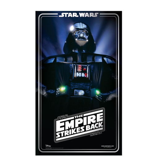 Life-size cardboard standee backdrop of Darth Vader. Celebrating 40 years.
