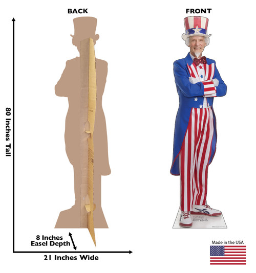 Life-size cardboard standee of Uncle Sam, back and front with dimensions.