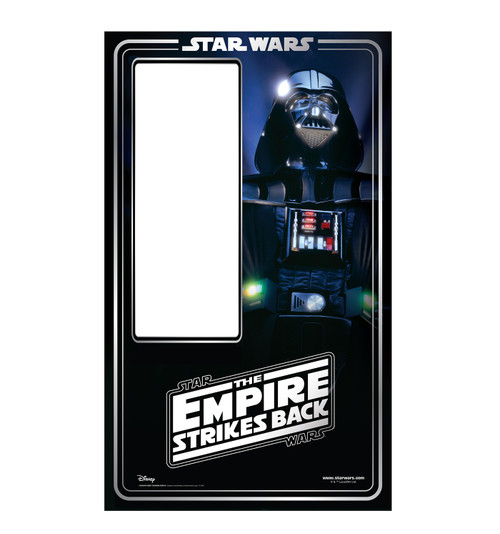Life-size cardboard standin of Darth Vader Packaging. Celebrating 40 years.