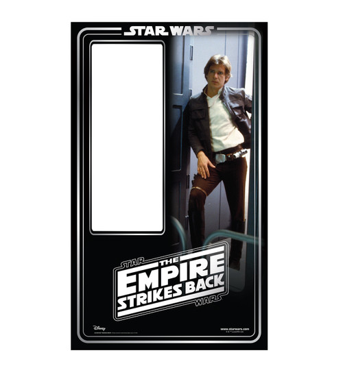 Life-size cardboard standin of Han Solo Packaging. Celebrating 40 years.