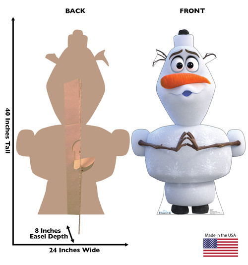 Life-size cardboard standee of Olaf from Disney's Frozen 2 with back and front dimensions.