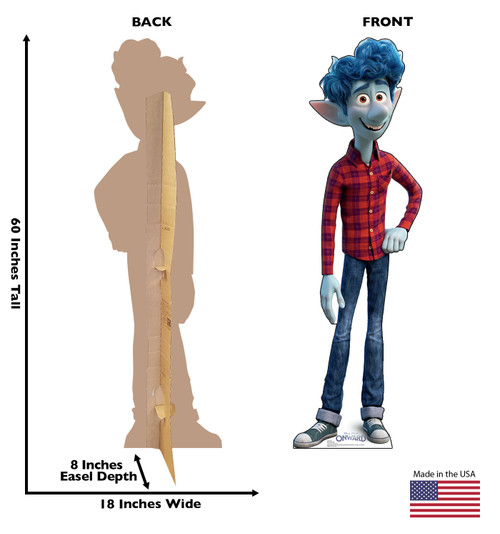 Life-size cardboard standee of Ian from Disney/Pixar's film Onward with front and back dimensions.