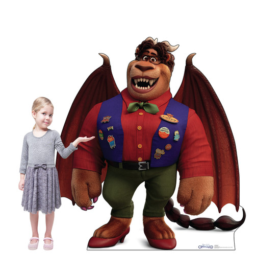 Life-size cardboard standee of Manticore from Disney/Pixar's film Onward with front and back dimensions.