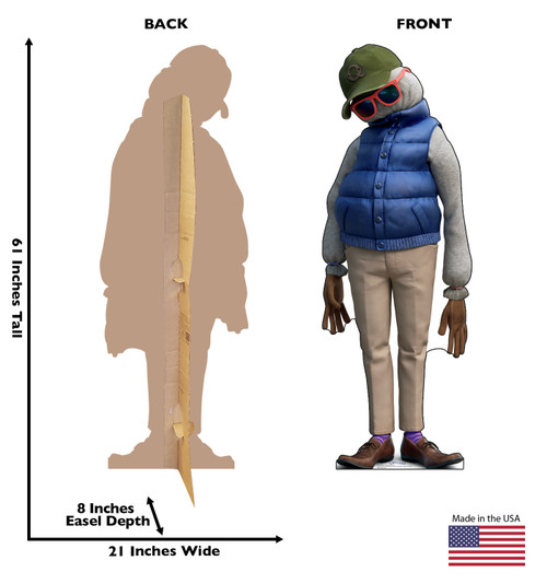 Life-size cardboard standee of Dad from Disney/Pixar's film Onward with front and back dimensions.