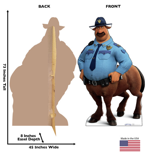 Life-size cardboard standee of Officer Bronco from Disney/Pixar's film Onward with front and back dimensions.