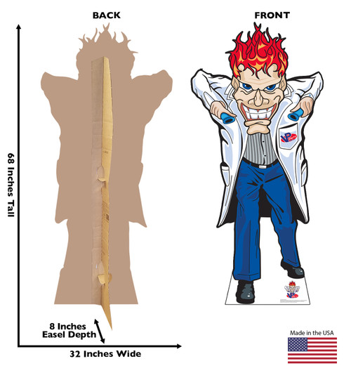 Life-size cardboard standee of a Mad Scientist from VP Racing Fuels with front and back dimensions.