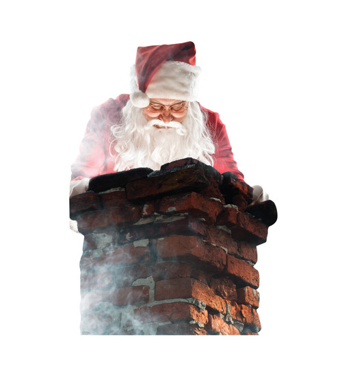 Life-size cardboard standee of Santa in a Chimney.