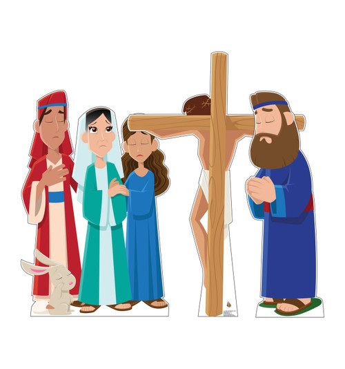 Life-size cardboard standee set of Jesus on the Cross.
