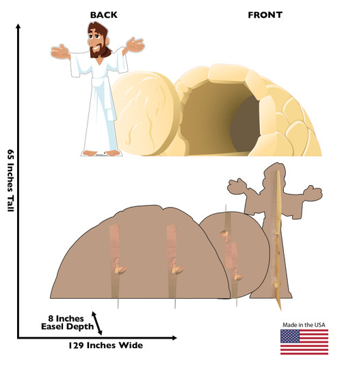 Life-size cardboard standee set of Easter_Jesus has Risen with front and back dimensions.