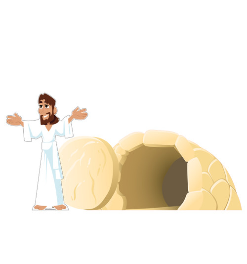 Life-size cardboard standee set of Easter_Jesus has Risen.