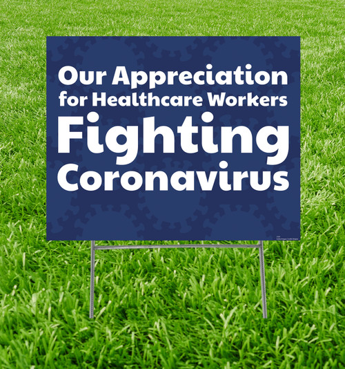 Coroplast yard sign, shown with h-stake with background.
