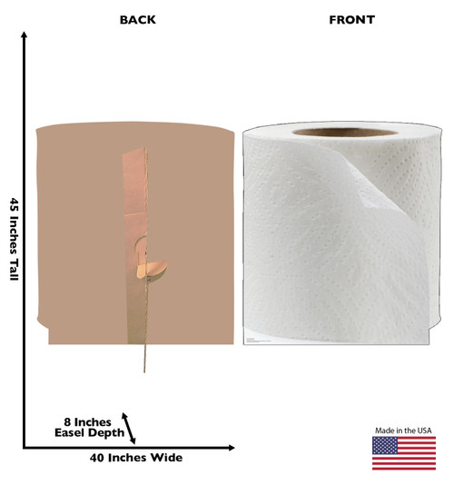 Life-size cardboard standee of Toilet Paper Roll with front and back dimensions.