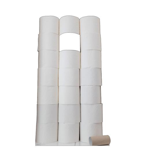 Life-size cardboard standin of HoarderToilet Paper Roll.
