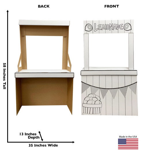 Life-size Color Me Lemonade Stand with front and back dimensions.