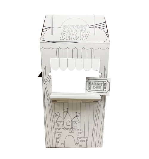 Life-size Color Me Puppet Show Stand with front and back dimensions.