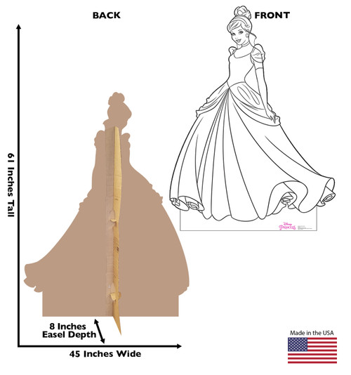 Life-size cardboard standee of Color Me Cinderella from Disney Princesses with front and back dimensions.