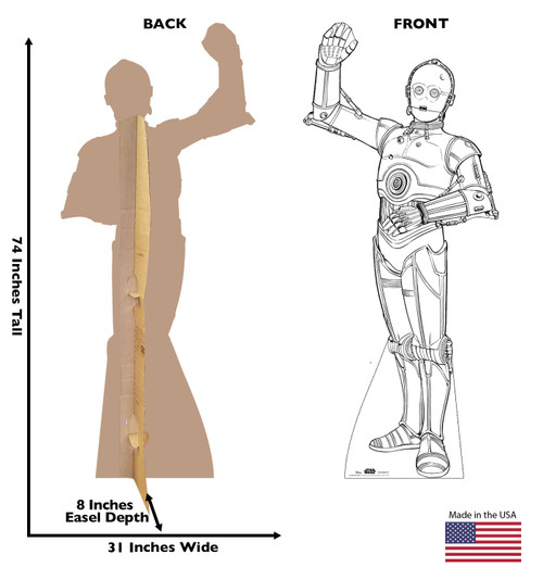 Life-size Color Me C-3PO Standee with front and back dimensions.