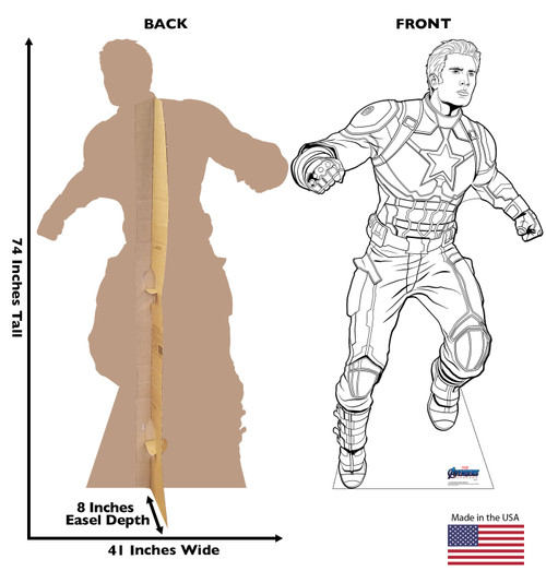 Life-size Color Me Captain America Standee with front and back dimensions.