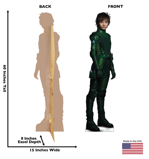 Life-size cardboard standup of Holly Short from Artemis Fowl with back and front dimensions.
