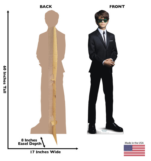 Life-size cardboard standup of Artemis Fowl from Artemis Fowl with back and front dimensions.