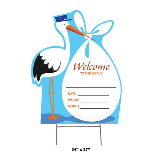New Baby Outdoor Stork Standee - Blue It's a Boy 3433