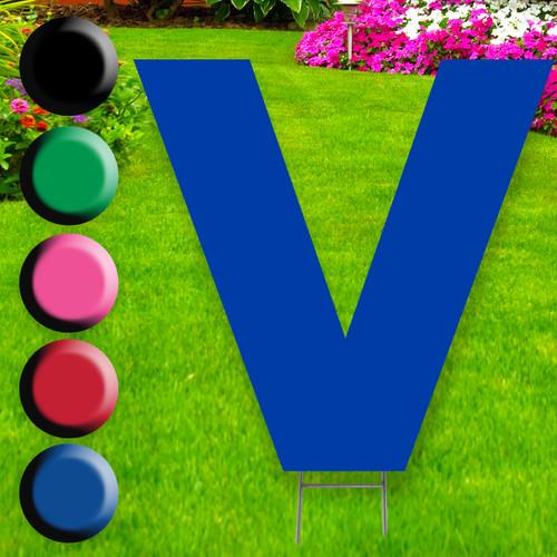 Letter V yard sign