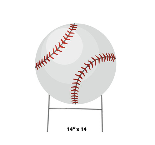 Coroplast outdoor yard sign icon of a softball with dimensions.