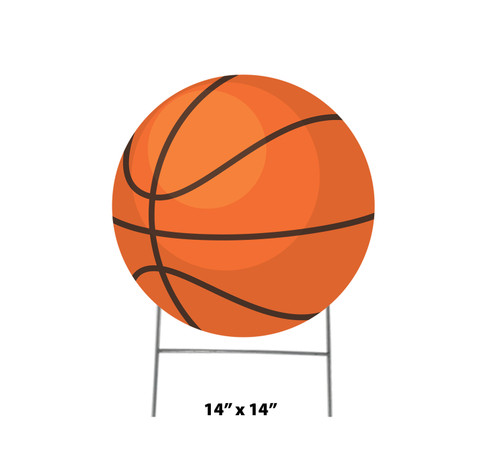 Coroplast outdoor yard sign icon of a basketball with dimensions.