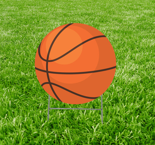 Coroplast outdoor yard sign icon of a basketball.