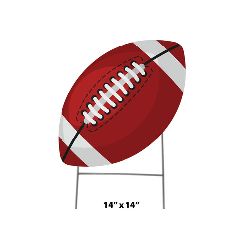 Coroplast outdoor yard sign icon of a football with dimensions.