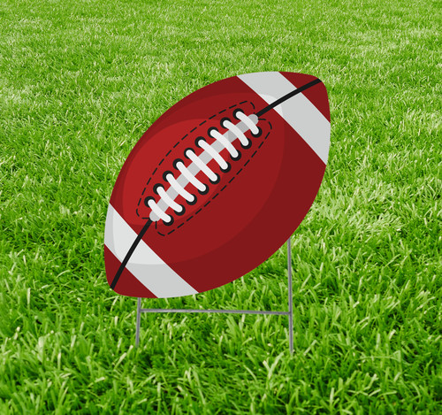 Coroplast outdoor yard sign icon of a football.