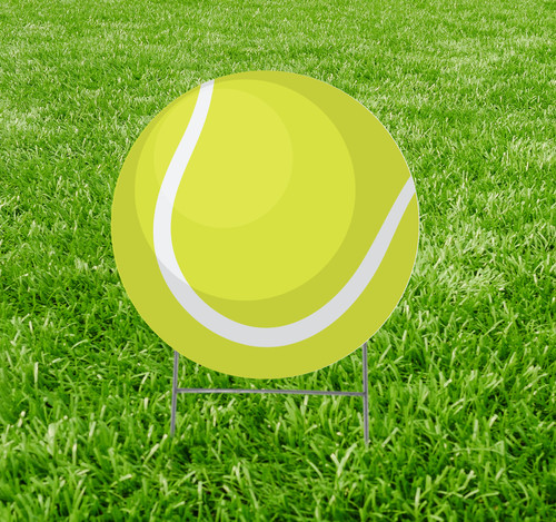 Coroplast outdoor yard sign icon of a tennis ball.